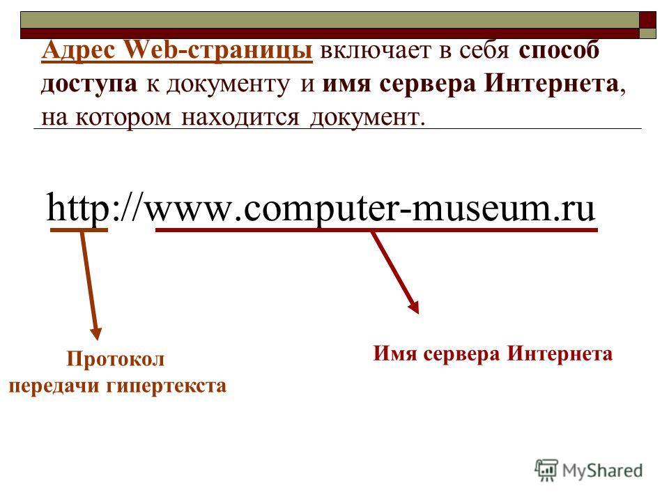 Адрес Web-страницы включает в себя способ доступа к документу и имя сервера Интернета, на котором находится документ. http://www.computer-museum.ru Протокол передачи гипертекста Имя сервера Интернета