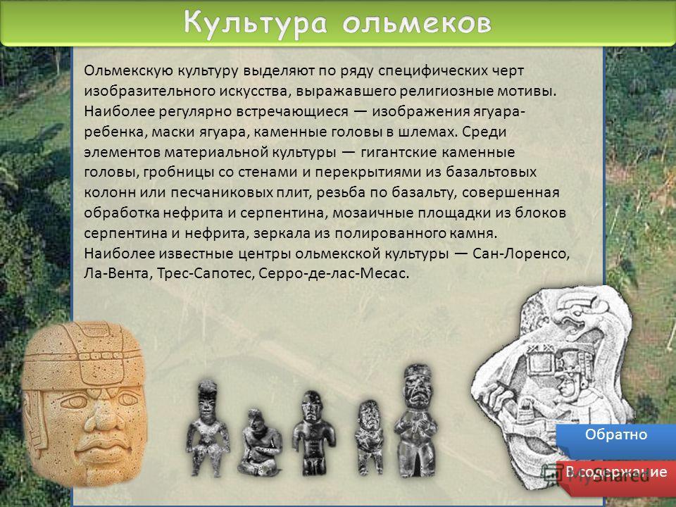 Ольмекскую культуру выделяют по ряду специфических черт изобразительного искусства, выражавшего религиозные мотивы. Наиболее регулярно встречающиеся изображения ягуара- ребенка, маски ягуара, каменные головы в шлемах. Среди элементов материальной кул