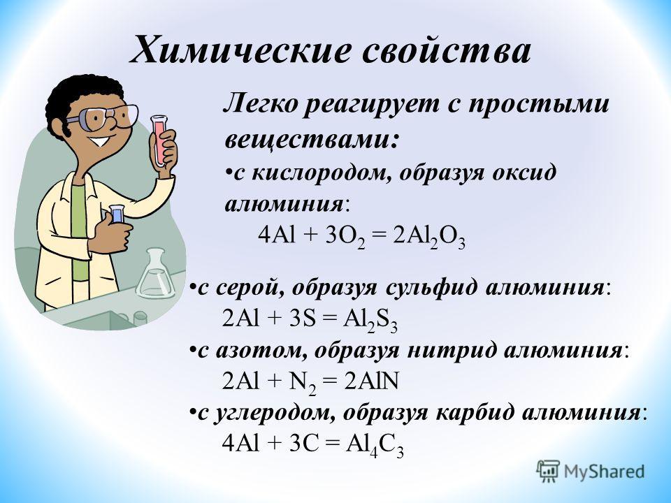 Легко реагирует с простыми веществами: с кислородом, образуя оксид алюминия: 4Al + 3O 2 = 2Al 2 O 3 с серой, образуя сульфид алюминия: 2Al + 3S = Al 2 S 3 с азотом, образуя нитрид алюминия: 2Al + N 2 = 2AlN с углеродом, образуя карбид алюминия: 4Al +