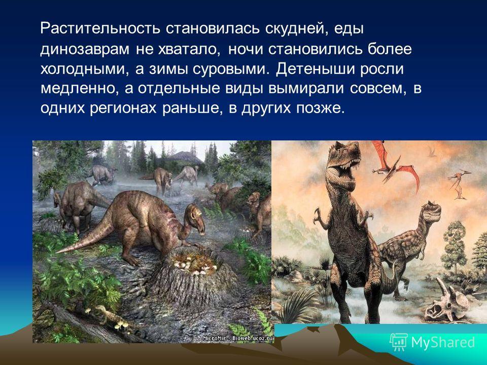 Растительность становилась скудней, еды динозаврам не хватало, ночи становились более холодными, а зимы суровыми. Детеныши росли медленно, а отдельные виды вымирали совсем, в одних регионах раньше, в других позже.
