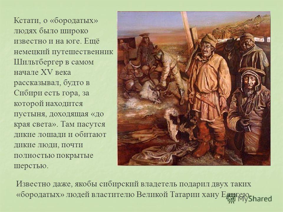 Кстати, о «бородатых» людях было широко известно и на юге. Ещё немецкий путешественник Шильтбергер в самом начале XV века рассказывал, будто в Сибири есть гора, за которой находится пустыня, доходящая «до края света». Там пасутся дикие лошади и обита