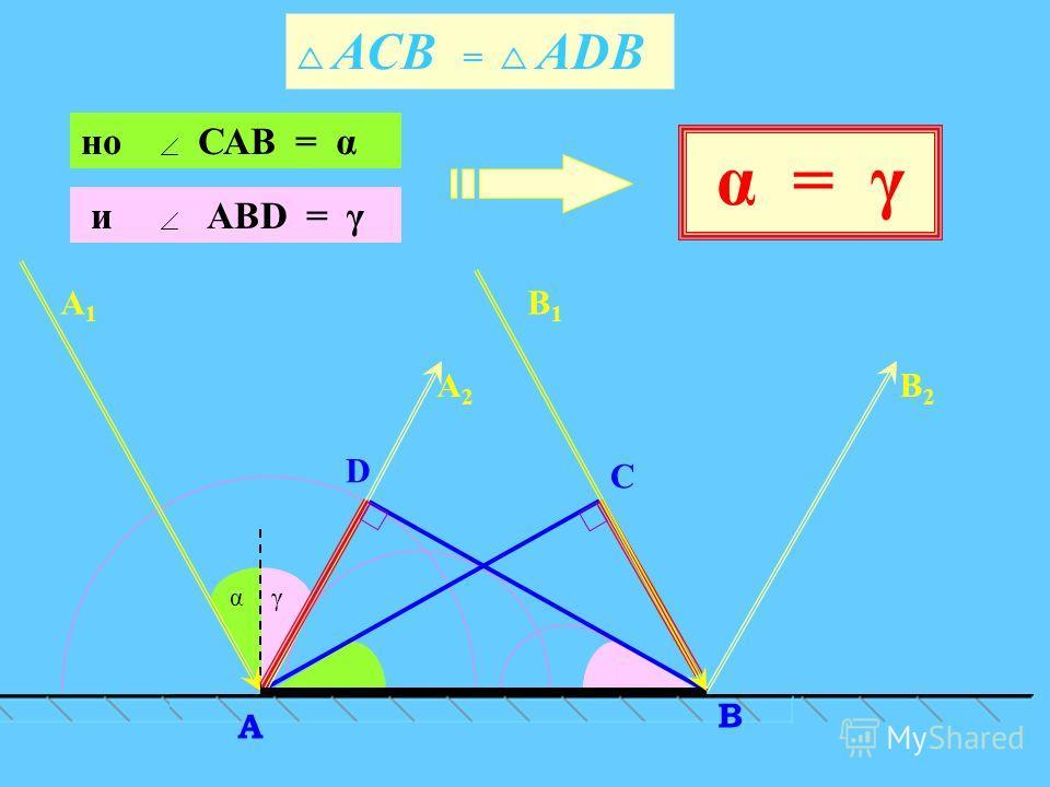 и АВD = γ γα АСВ = АDВ C D В A А2А2 В2В2 А1А1 В1В1 но САВ = α α = γ