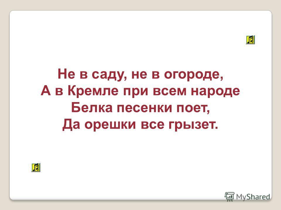 Не в саду, не в огороде, А в Кремле при всем народе Белка песенки поет, Да орешки все грызет.