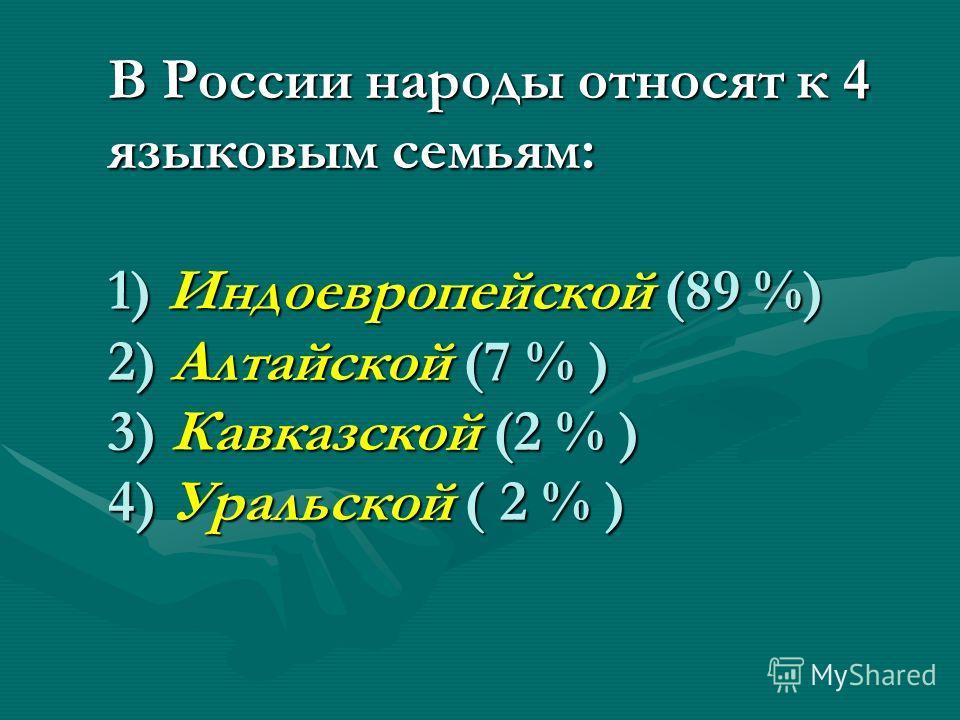В России народы относят к 4 языковым семьям: 1) Индоевропейской (89 %) 2) Алтайской (7 % ) 3) Кавказской (2 % ) 4) Уральской ( 2 % )