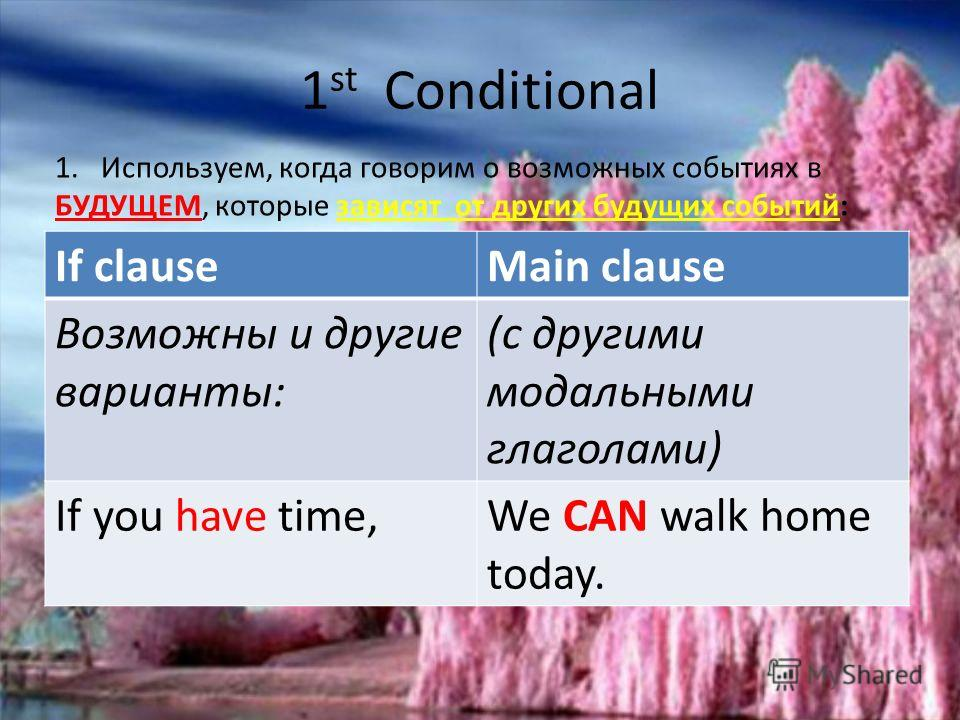 1 st Conditional If clauseMain clause IF+ PRESENT SIMPLEWILL/WON`T + INFINITIVE WITHOUT TO If you don`t change your life stile, you will have heart attack. If the rain stops,The match will begin. If Alice is late,We won`t wait for her long. Возможны