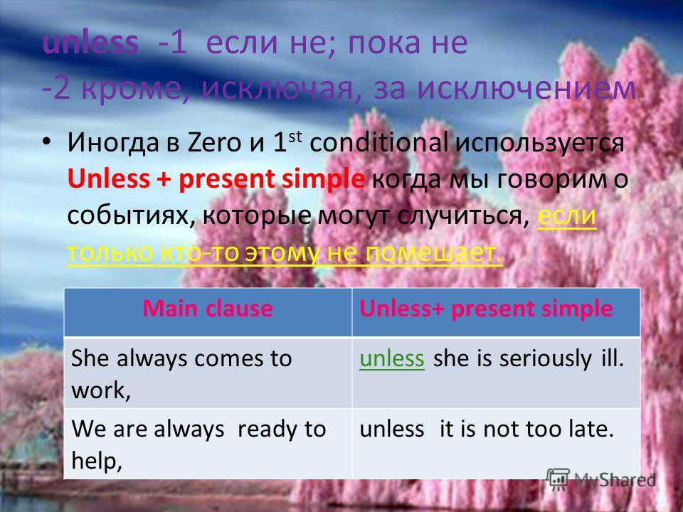 1 st Conditional If clauseMain clause IF+ PRESENT SIMPLEIMPERATIVE ПОВЕЛИТЕЛЬНОЕ НАКЛОНЕНИЕ if you have problems,call me at once. (imperative) If you are late for the last train take a taxi! If you feel unwellgo to bed! 2. Также используется, когда м
