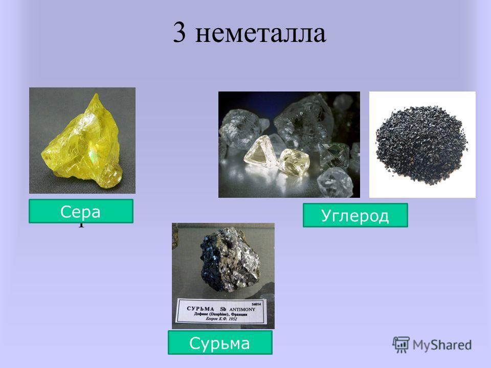 3 неметалла сера Сера Сурьма Углерод