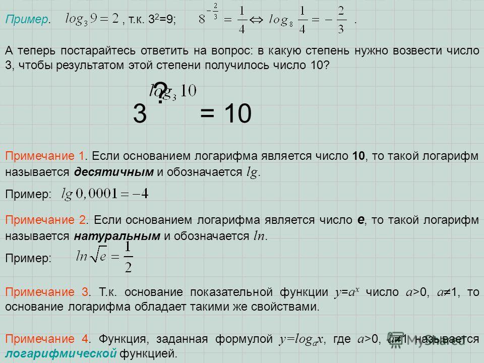 Пример., т.к. 3 2 =9;. Примечание 3. Т.к. основание показательной функции y = a x число a >0, a 1, то основание логарифма обладает такими же свойствами. Примечание 4. Функция, заданная формулой y=log a x, где a >0, a 1 называется логарифмической функ