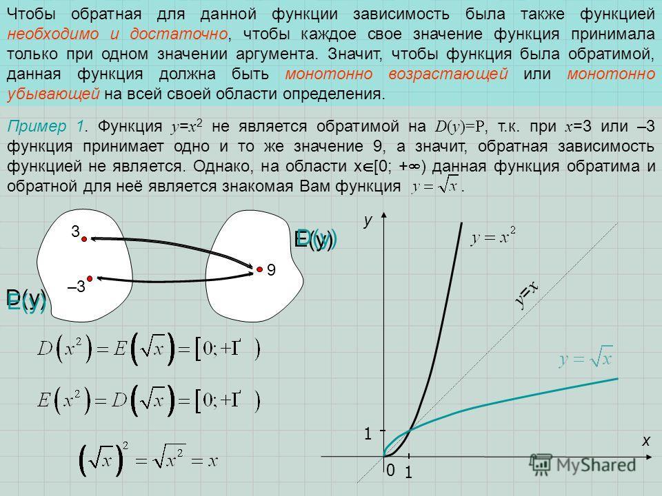 Чтобы обратная для данной функции зависимость была также функцией необходимо и достаточно, чтобы каждое свое значение функция принимала только при одном значении аргумента. Значит, чтобы функция была обратимой, данная функция должна быть монотонно во