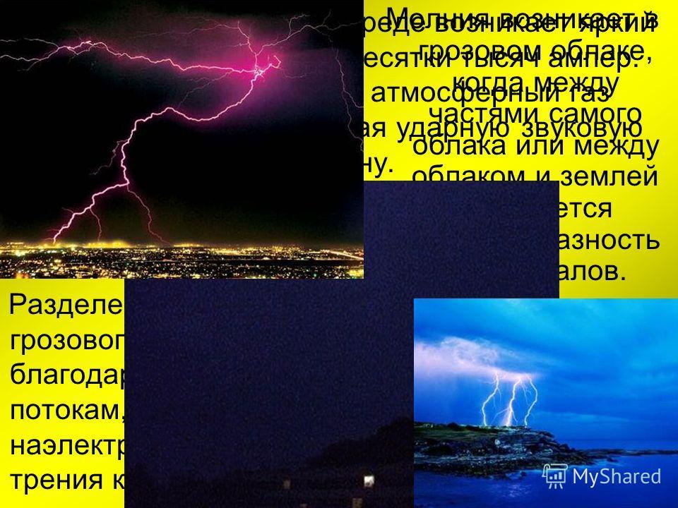 В результате в газовой среде возникает яркий разряд тока силой в десятки тысяч ампер. Быстро нагреваясь, атмосферный газ расширяется, порождая ударную звуковую волну. Молния возникает в грозовом облаке, когда между частями самого облака или между обл