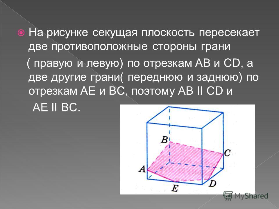 На рисунке секущая плоскость пересекает две противоположные стороны грани ( правую и левую) по отрезкам AB и CD, а две другие грани( переднюю и заднюю) по отрезкам AE и BC, поэтому AB II CD и AE II BC.