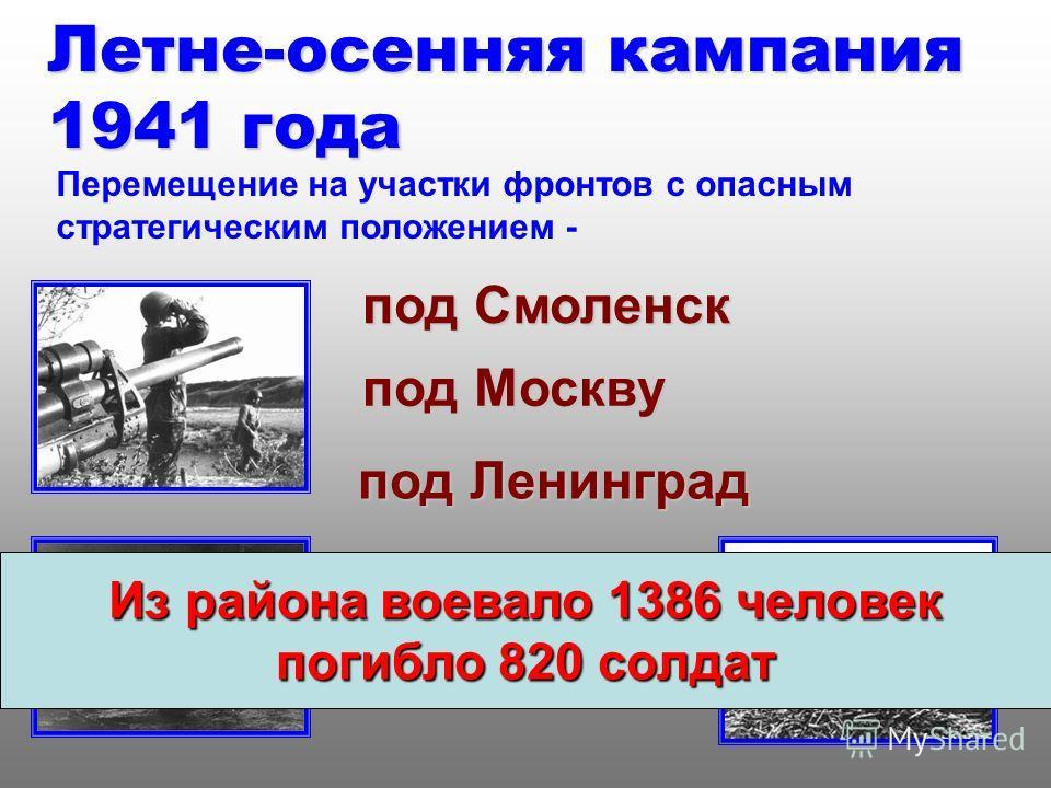 Летне-осенняя кампания 1941 года Перемещение на участки фронтов с опасным стратегическим положением - под Смоленск под Москву под Ленинград Из района воевало 1386 человек погибло 820 солдат
