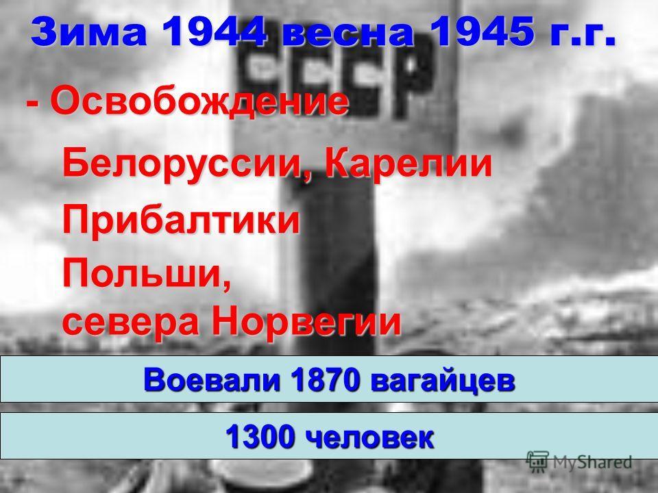 Зима 1944 весна 1945 г.г. Воевали 1870 вагайцев - Освобождение Белоруссии, Карелии Польши, севера Норвегии Прибалтики 1300 человек