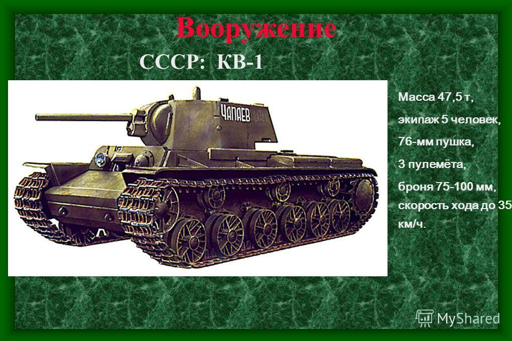 Вооружение СССР: Т-34 Масса 28,5 т, экипаж 5 человек, 76-мм пушка, 2 пулемёта, броня 45-90 мм, скорость хода до 55 км/ч.