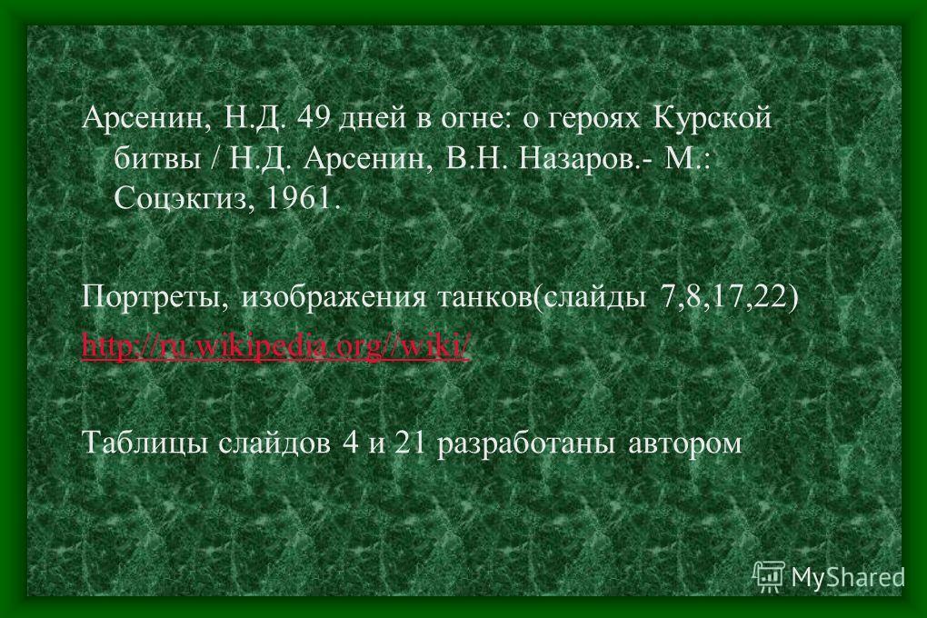 Список используемых источников Слайды 5,6,9-15, 18-20,23,24 От Кремля до рейхстага. CD, 2002 г. Слайд 3 Уроки о войне.CD. Липецк, 2003г
