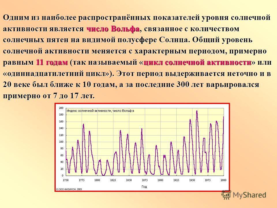 Одним из наиболее распространённых показателей уровня солнечной активности является число Вольфа, связанное с количеством солнечных пятен на видимой полусфере Солнца. Общий уровень солнечной активности меняется с характерным периодом, примерно равным