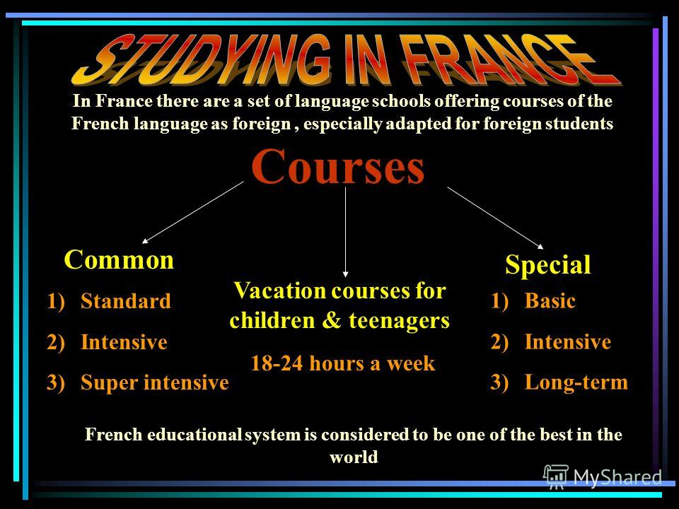 Courses Common Special Vacation courses for children & teenagers 1)Standard 2)Intensive 3)Super intensive 1)Basic 2)Intensive 3)Long-term 18-24 hours a week In France there are a set of language schools offering courses of the French language as fore