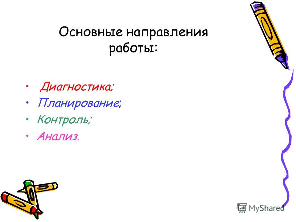 Основные направления работы: Диагностика; Планирование; Контроль; Анализ.