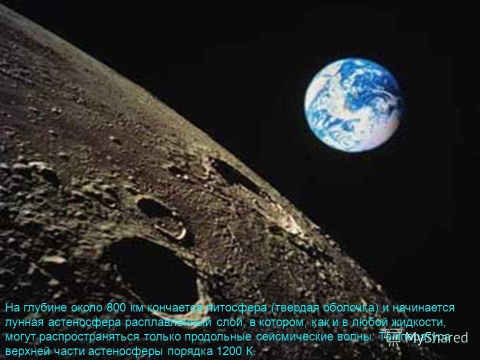 На глубине около 800 км кончается литосфера (твердая оболочка) и начинается лунная астеносфера расплавленный слой, в котором, как и в любой жидкости, могут распространяться только продольные сейсмические волны. Температура верхней части астеносферы п