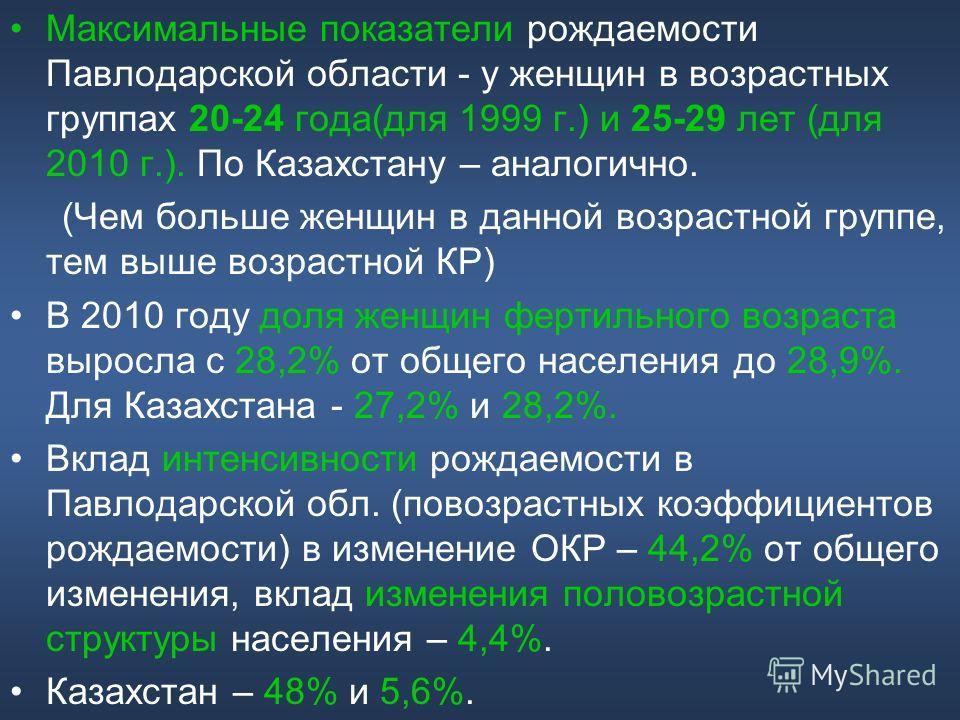 Максимальные показатели рождаемости Павлодарской области - у женщин в возрастных группах 20-24 года(для 1999 г.) и 25-29 лет (для 2010 г.). По Казахстану – аналогично. (Чем больше женщин в данной возрастной группе, тем выше возрастной КР) В 2010 году
