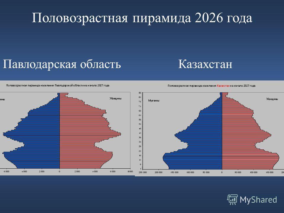 Половозрастная пирамида 2026 года Павлодарская область Казахстан