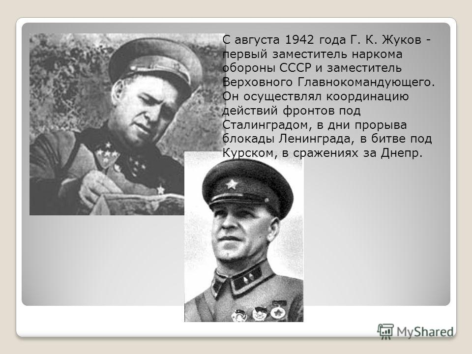 С августа 1942 года Г. К. Жуков - первый заместитель наркома обороны СССР и заместитель Верховного Главнокомандующего. Он осуществлял координацию действий фронтов под Сталинградом, в дни прорыва блокады Ленинграда, в битве под Курском, в сражениях за