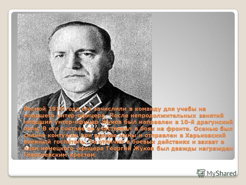 Весной 1916 года его зачислили в команду для учебы на младшего унтер-офицера. После непродолжительных занятий младший унтер-офицер Жуков был направлен в 10-й драгунский полк. В его составе он участвовал в боях на фронте. Осенью был сильно контужен пр