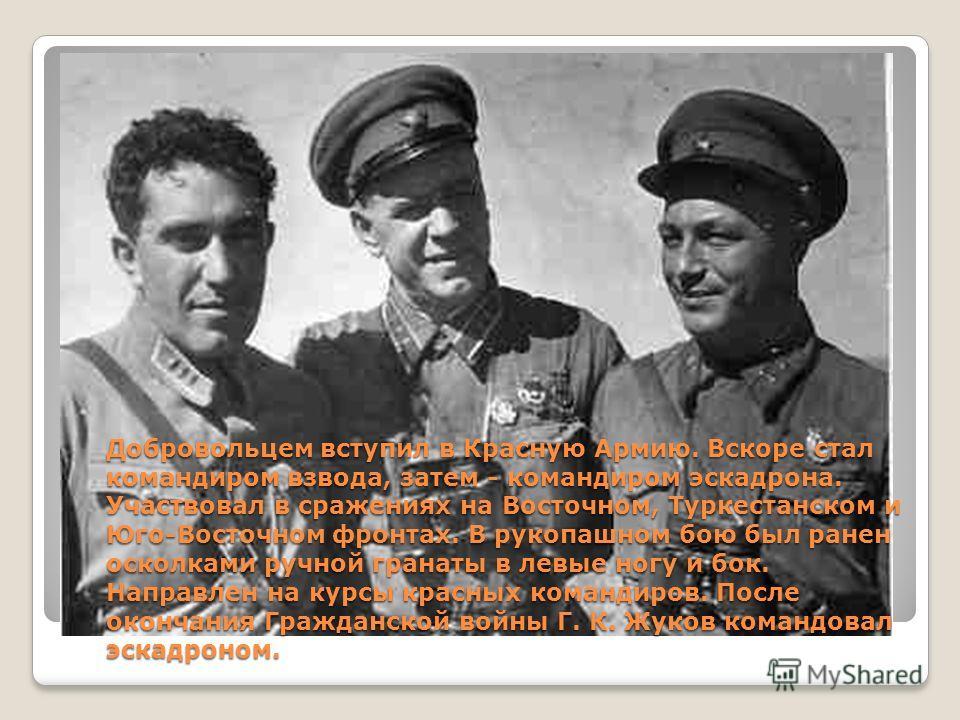 Добровольцем вступил в Красную Армию. Вскоре стал командиром взвода, затем - командиром эскадрона. Участвовал в сражениях на Восточном, Туркестанском и Юго-Восточном фронтах. В рукопашном бою был ранен осколками ручной гранаты в левые ногу и бок. Нап