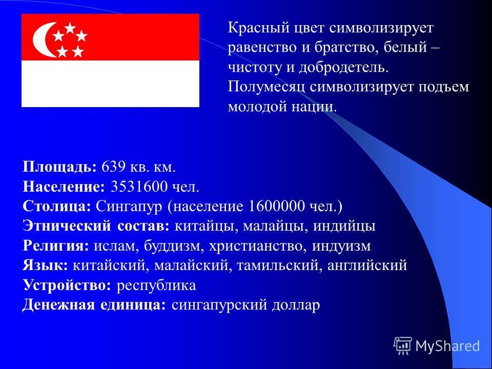 Красный цвет символизирует равенство и братство, белый – чистоту и добродетель. Полумесяц символизирует подъем молодой нации. Площадь: 639 кв. км. Население: 3531600 чел. Столица: Сингапур (население 1600000 чел.) Этнический состав: китайцы, малайцы,