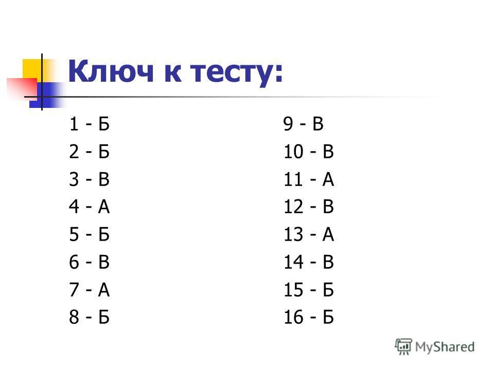 Ключ к тесту: 1 - Б 2 - Б 3 - В 4 - А 5 - Б 6 - В 7 - А 8 - Б 9 - В 10 - В 11 - А 12 - В 13 - А 14 - В 15 - Б 16 - Б