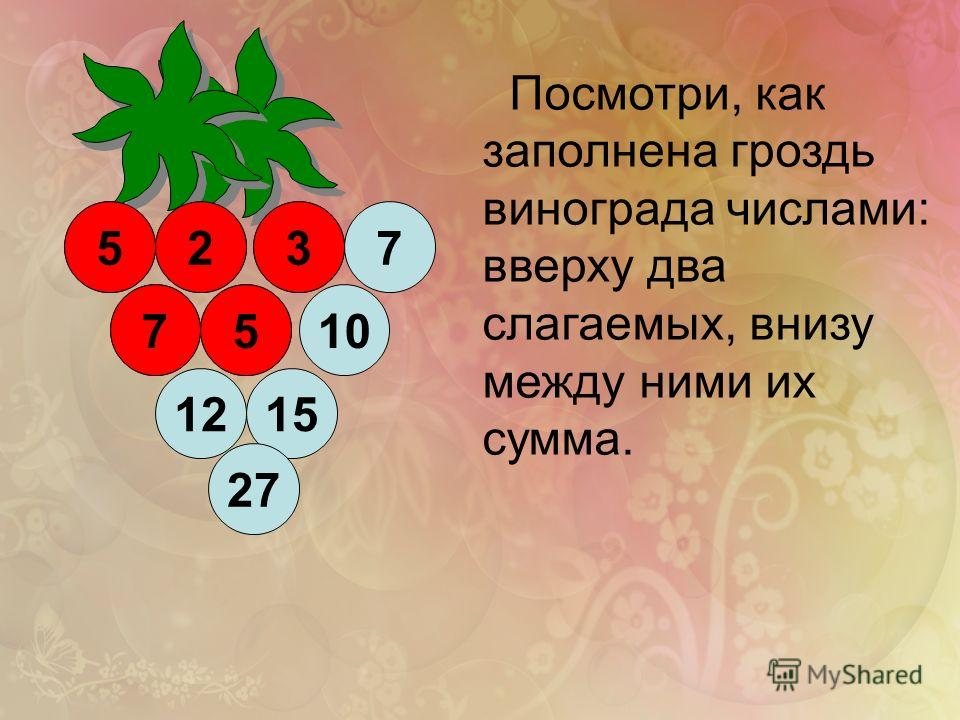 2 1215 5 510 27 7 37 Посмотри, как заполнена гроздь винограда числами: вверху два слагаемых, внизу между ними их сумма. 7 523 5
