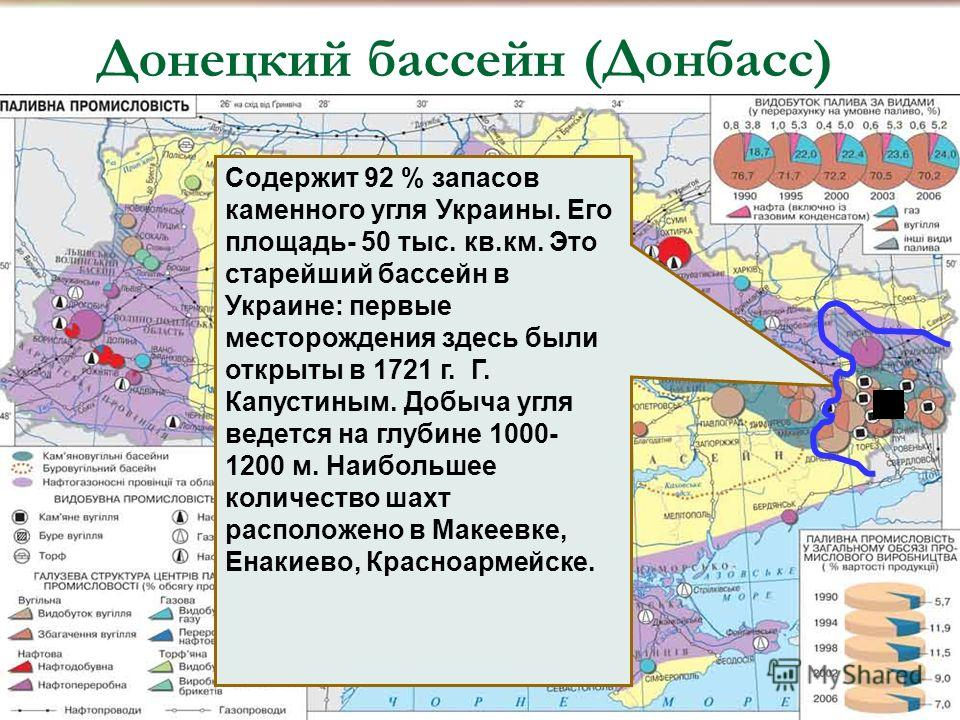Содержит 92 % запасов каменного угля Украины. Его площадь- 50 тыс. кв.км. Это старейший бассейн в Украине: первые месторождения здесь были открыты в 1721 г. Г. Капустиным. Добыча угля ведется на глубине 1000- 1200 м. Наибольшее количество шахт распол
