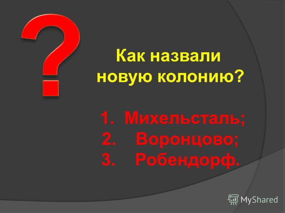 Как назвали новую колонию? 1. Михельсталь; 2. Воронцово; 3. Робендорф.