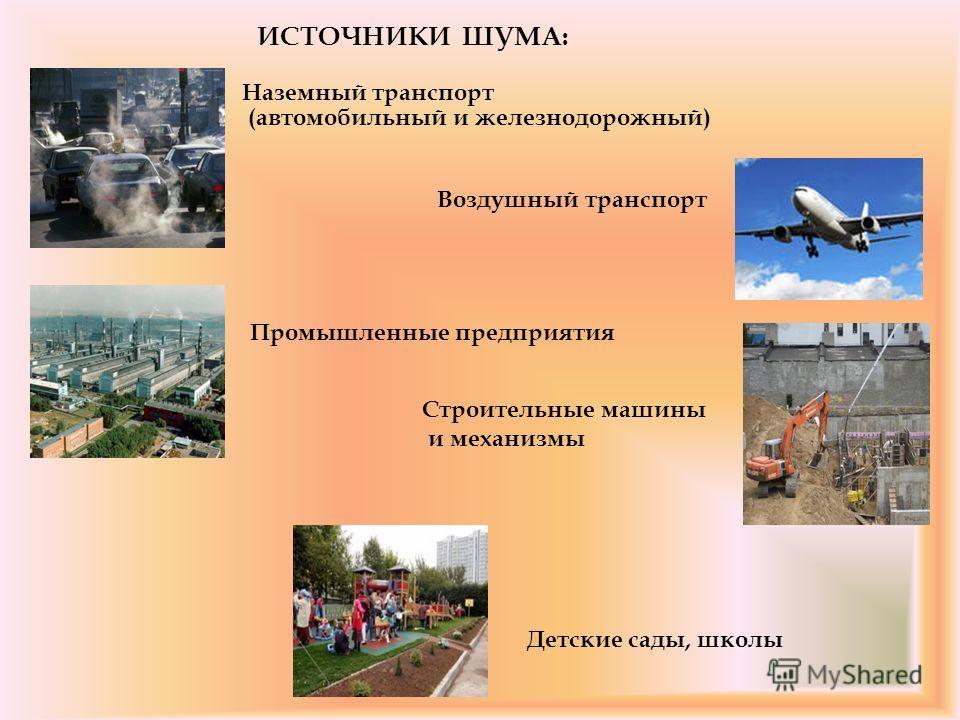 ИСТОЧНИКИ ШУМА: Наземный транспорт (автомобильный и железнодорожный) Воздушный транспорт Промышленные предприятия Строительные машины и механизмы Детские сады, школы