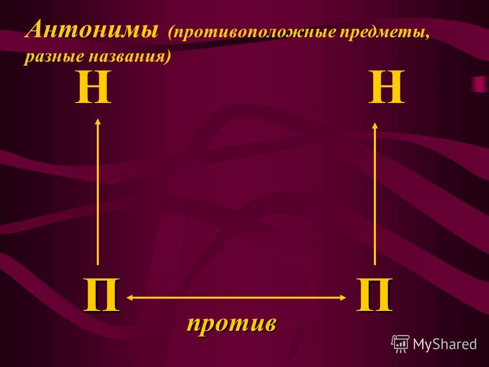 П НН П против Антонимы (противоположные предметы, разные названия)
