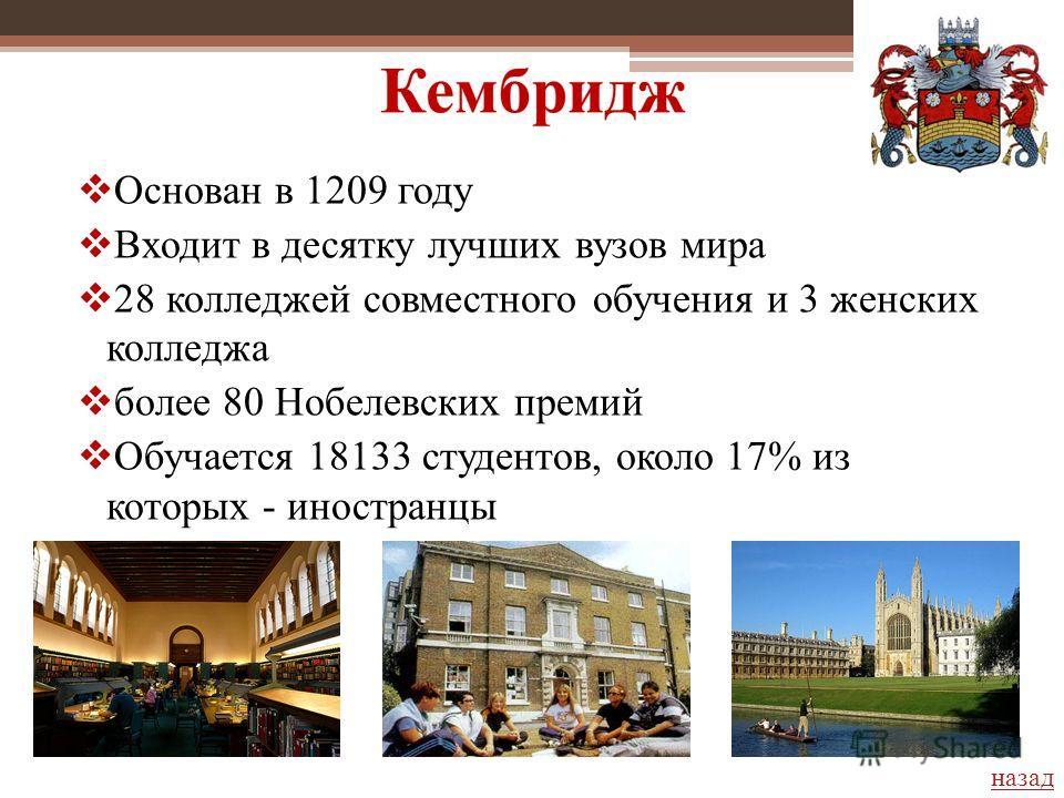 Основан в 1209 году Входит в десятку лучших вузов мира 28 колледжей совместного обучения и 3 женских колледжа более 80 Нобелевских премий Обучается 18133 студентов, около 17% из которых - иностранцы назад