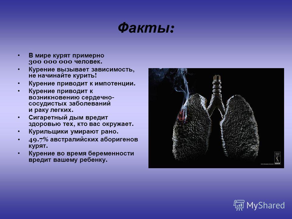 Факты : В мире курят примерно 300 000 000 человек. Курение вызывает зависимость, не начинайте курить ! Курение приводит к импотенции. Курение приводит к возникновению сердечно - сосудистых заболеваний и раку легких. Сигаретный дым вредит здоровью тех