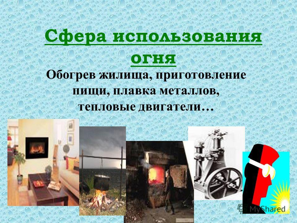 Сфера использования огня Обогрев жилища, приготовление пищи, плавка металлов, тепловые двигатели…