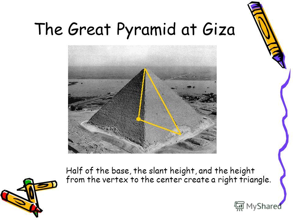 The Great Pyramid at Giza Half of the base, the slant height, and the height from the vertex to the center create a right triangle.