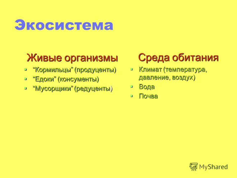 Экосистема Живые организмы Кормильцы (продуценты)Кормильцы (продуценты) Едоки (консументы)Едоки (консументы) Мусорщики (редуценты)Мусорщики (редуценты) Среда обитания Климат (температура, давление, воздух) Климат (температура, давление, воздух) Вода