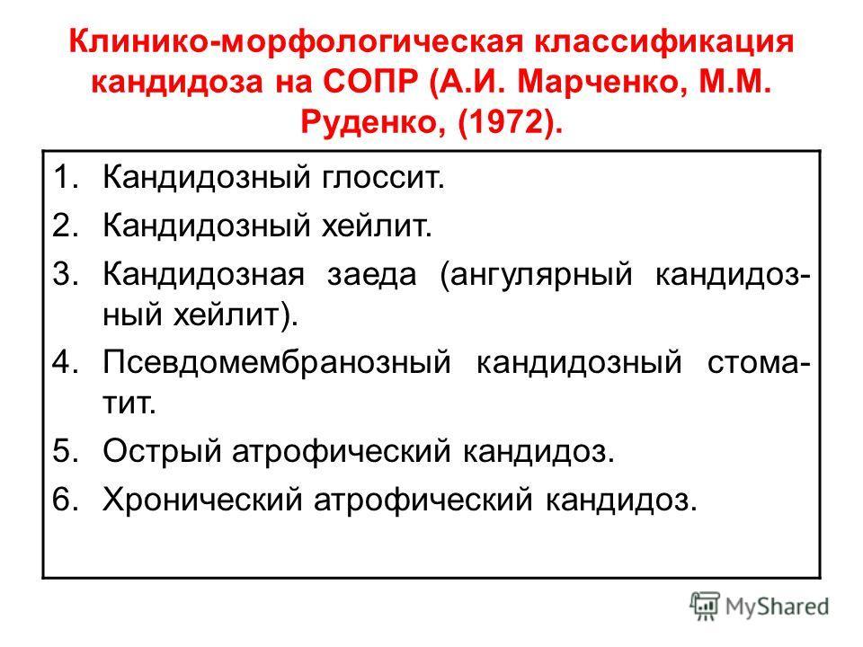 Клинико-морфологическая классификация кандидоза на СОПР (А.И. Марченко, М.М. Руденко, (1972). 1.Кандидозный глоссит. 2.Кандидозный хейлит. 3.Кандидозная заеда (ангулярный кандидоз- ный хейлит). 4.Псевдомембранозный кандидозный стома- тит. 5.Острый ат