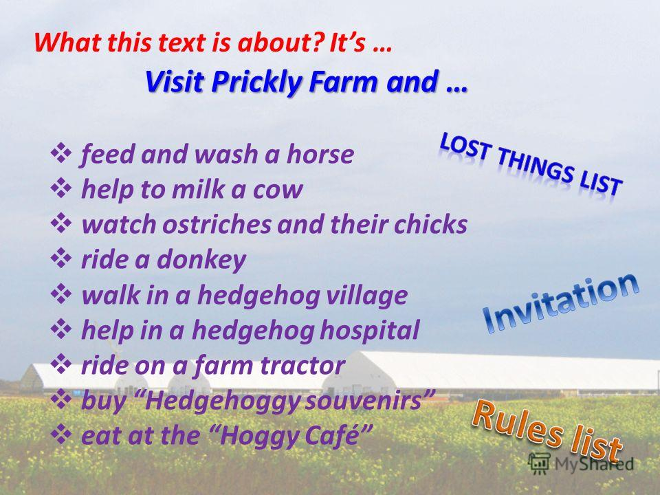 Visit Prickly Farm and … feed and wash a horse help to milk a cow watch ostriches and their chicks ride a donkey walk in a hedgehog village help in a hedgehog hospital ride on a farm tractor buy Hedgehoggy souvenirs eat at the Hoggy Café What this te