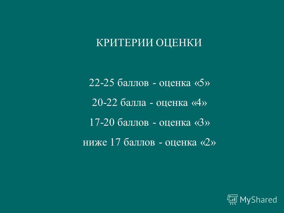 КРИТЕРИИ ОЦЕНКИ 22-25 баллов - оценка «5» 20-22 балла - оценка «4» 17-20 баллов - оценка «3» ниже 17 баллов - оценка «2»