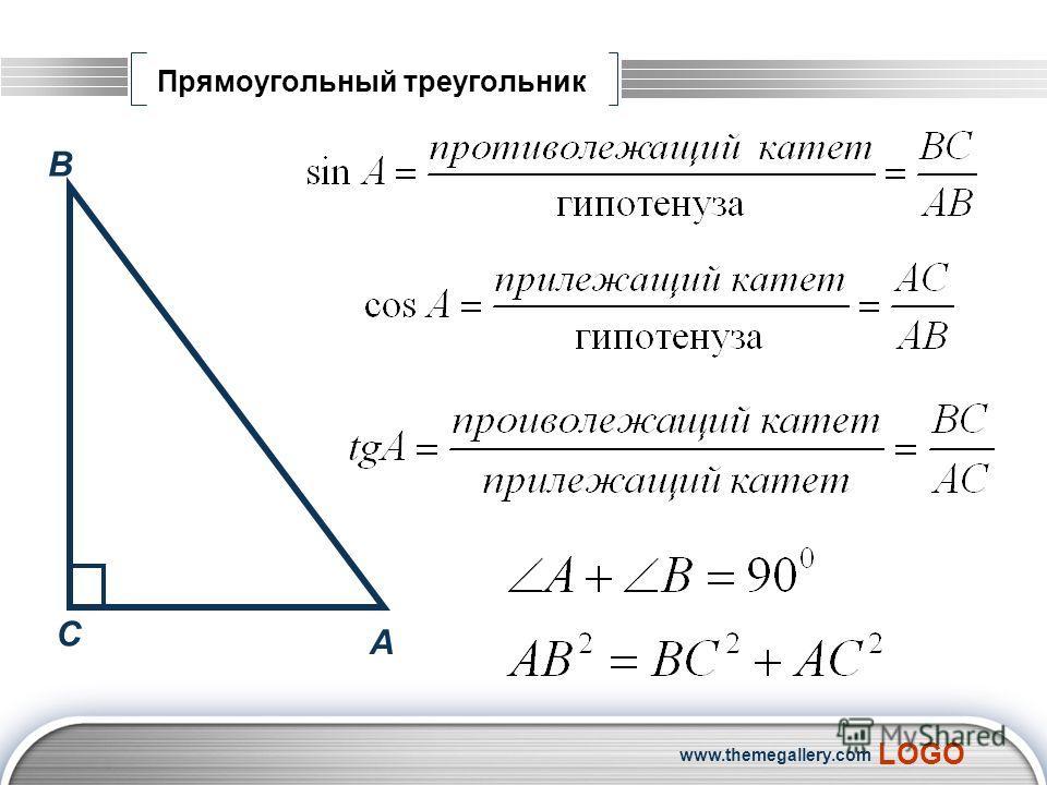LOGO www.themegallery.com Прямоугольный треугольник А В С
