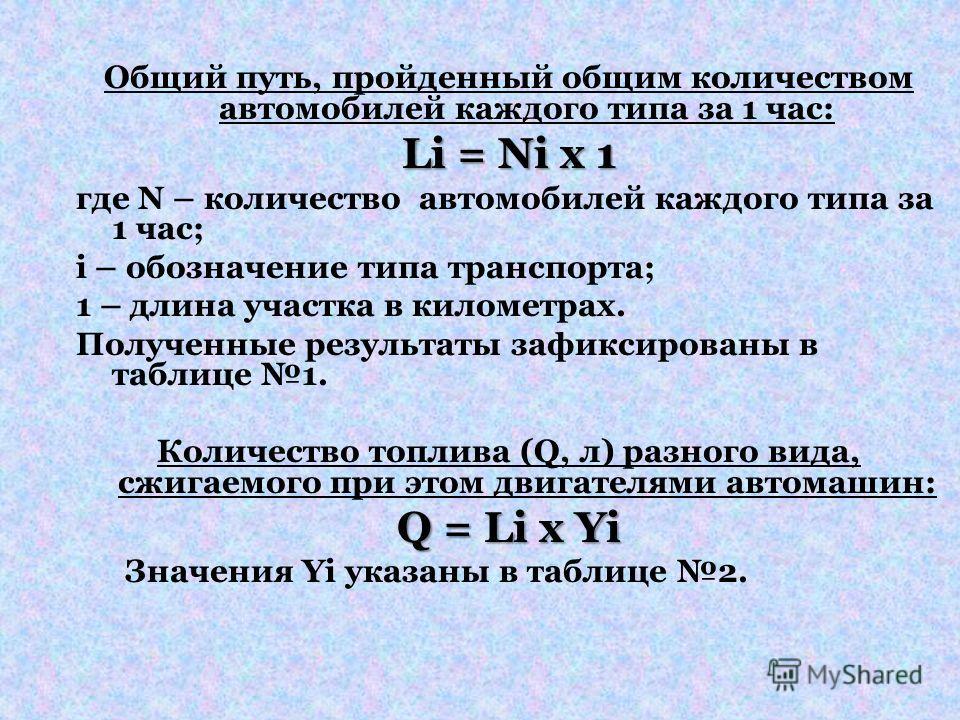 Общий путь, пройденный общим количеством автомобилей каждого типа за 1 час: Li = Ni x 1 где N – количество автомобилей каждого типа за 1 час; i – обозначение типа транспорта; 1 – длина участка в километрах. Полученные результаты зафиксированы в табли