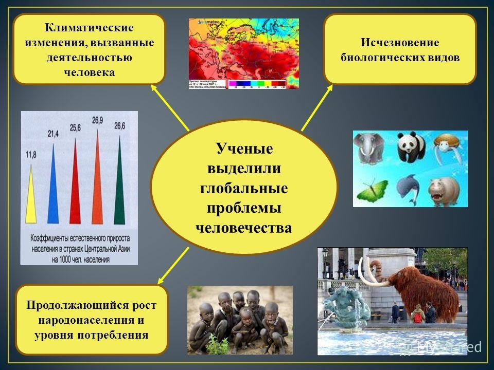 Ученые выделили глобальные проблемы человечества Исчезновение биологических видов Климатические изменения, вызванные деятельностью человека Продолжающийся рост народонаселения и уровня потребления