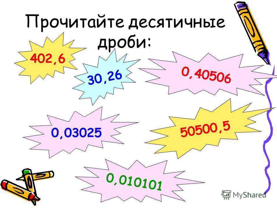 Прочитайте десятичные дроби: 402,6 30,26 0,40506 50500,5 0,03025 0,010101