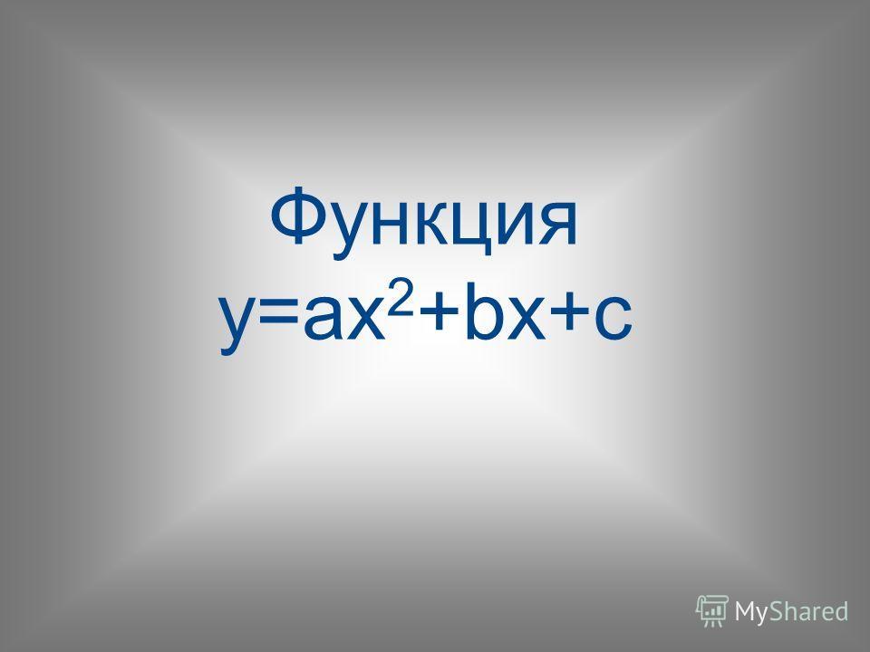 Функция y=ax 2 +bx+c