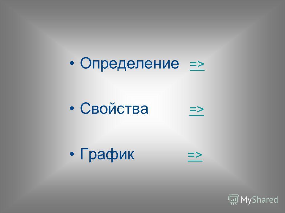 Определение => => Свойства => => График => =>