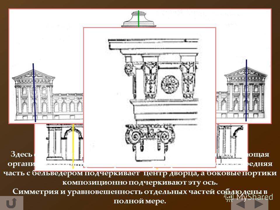 Здесь симметрия - основа архитектурного замысла, позволяющая организовать обширное городское пространство. Высокая средняя часть с бельведером подчеркивает центр дворца, а боковые портики композиционно подчеркивают эту ось. Симметрия и уравновешеннос